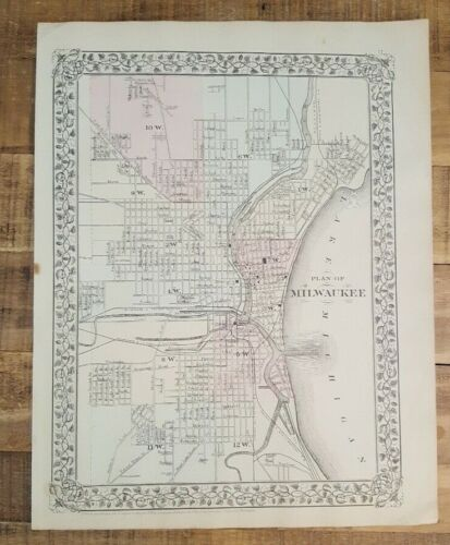 Antique Hand Colored MAP - PLAN OF MILWAUKEE - 1880