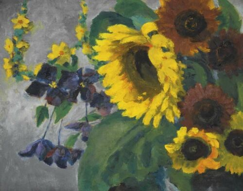 Emil Nolde Large Sunflower And Clematis Canvas Print 16 x 20    #4583