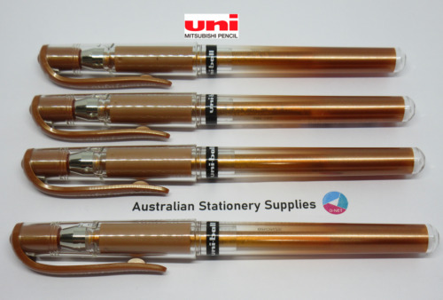 4 x BRONZE Uniball Signo Gel Ink Rollerball Pen Broad 1mm UM153 capped pens
