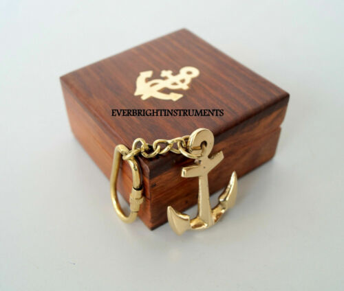 Set Of 10 Pcs Collectible Brass Finished Christmas Anchor Key Chain W/Wooden Box