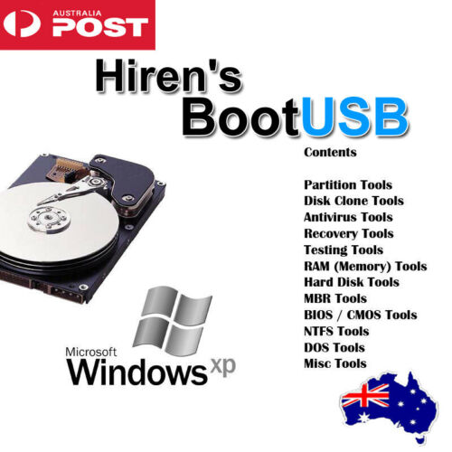 Hiren's Boot USB Computer Repair Software AntiVirus Malware Removal Recover OS's