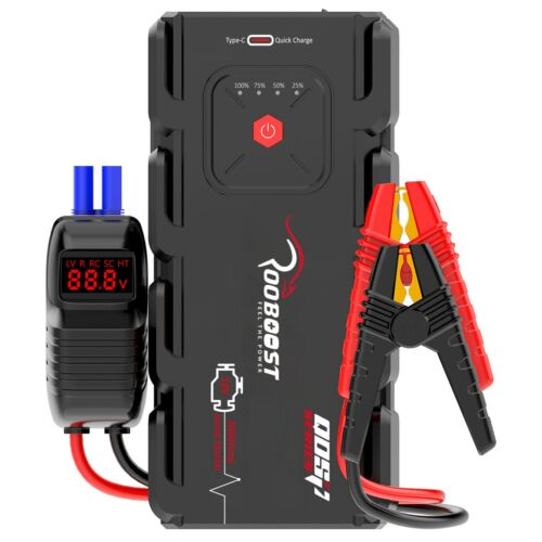 Jump Starter 2000A Portable 12 Volt Car battery Heavy duty high booster Rooboost <br/> 24-month Warranty High quality Upgraded Version RB-2000