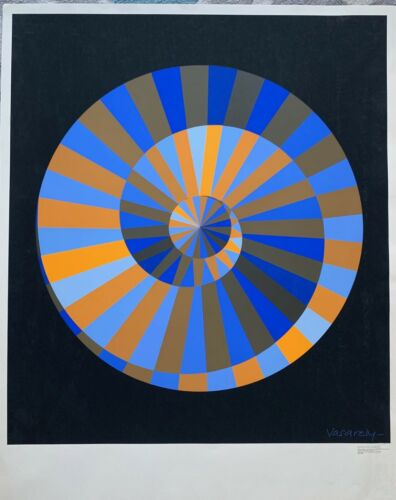 """1972 Olympic SPIRALE (ed 2) Otl Aicher 39""""X30.5"""" ORIGINAL plate signed Vasarely"""