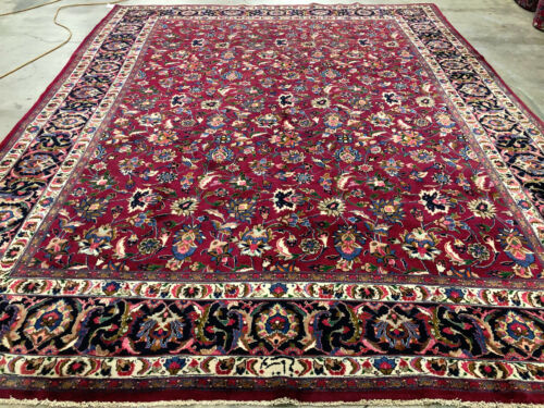 RED VINTAGE WOOL RUG HAND-KNOTTED 10x13 ANTIQUE ORIENTAL handmade carpet 10x14
