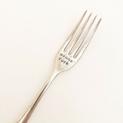 1 x Wanna Fork Gift Couples Silver Plated Ware Metal Stamping Handmade Funny Gag
