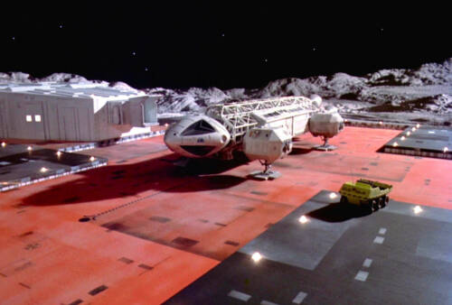 1975's SPACE: 1999 Eagle spacecraft prepares to launch color 8x10 scene