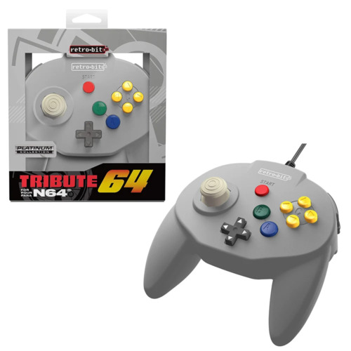 Retro-Bit Tribute 64 Wired N64 Controller for Nintendo 64 N64 Grey NEW