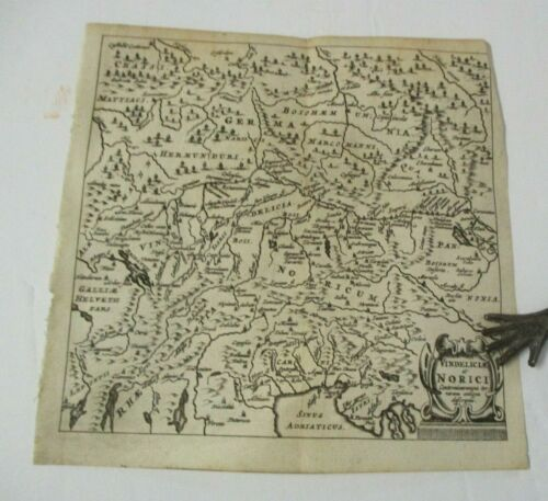 1659 Cluver Map of Vindelicia et NORICI, Vindelici & Taurisci Celtic Peoples