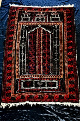 OLD BELOUCH BALOUCH TRIBAL HAND KNOTTED WOOL PILE RUG