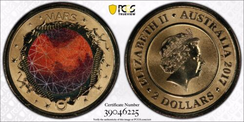 PCGS 2017 $2 Mars Planetary Coin - MS69 Gold Shield