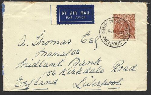 1933 Australia Ship Mail CDS Cover To Liverpool (BP102)
