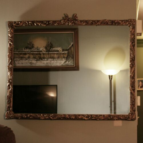 """Vintage 43"""" x 35"""" Wooden Gilt Gold Hollywood Regency Neoclassical Wall Mirror"""