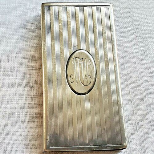 Tiny card case by J.F. Fradley of New York machine engraved sterling silver mono
