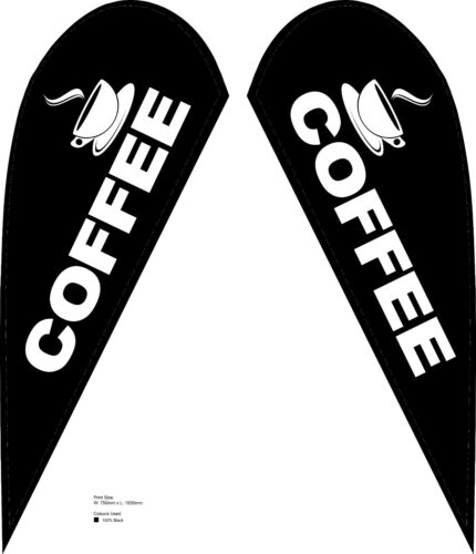 COFFEE - Small Tear Drop Flags - Double Sided Print