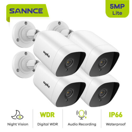 SANNCE 4X 5MP HD AI Human Detection Home Night Vision Camera for Security System