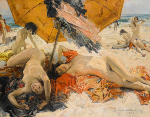 Howard Chandler Christy Nudes At The Beach Canvas Print 16 x 20  #3477