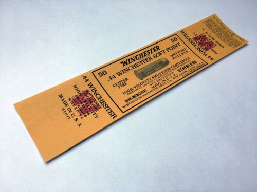 Winchester Rifle Model 92 Yellow LABEL STICKER 44 Cal SOFT POINT 50 cartridges