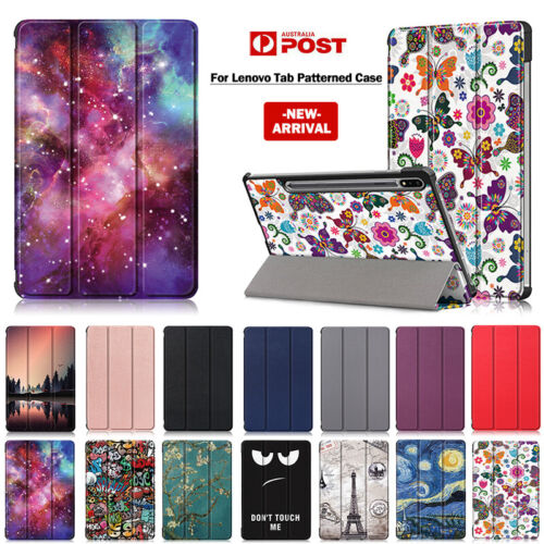 For Lenovo Tab M8 M10 FHD Plus Case Patterned Leather Smart Flip Stand Cover