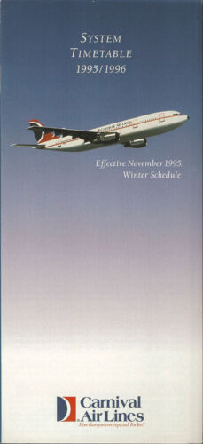 Carnival Air Lines system timetable 11/95 [0123] Buy 4+ save 25%