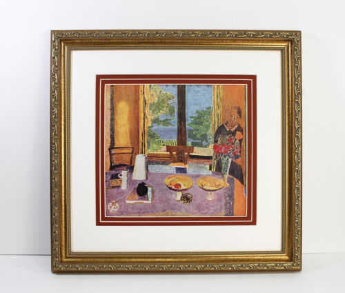 """Great 1937 BONNARD Antique Print """"Table on the Garden"""" Signed GALLERY FRAMED COA"""