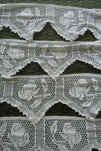 vintage 16cm wide TRIM hand crafted white FILET LACE edging ROSE fluted BUNTING