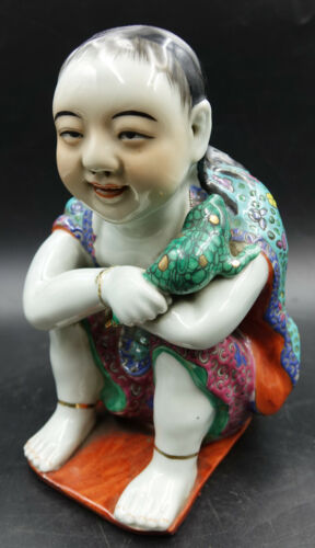 Republic of China Famille Rose Porcelain Figure Boy with Toad by Cai Xing Shun