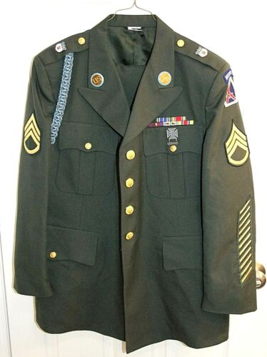 U.S. Army Green DRESS UNIFORM Jacket Coat 44S &Trouser Pants 40S w/Insignia/PinsOriginal Period Items - 156451