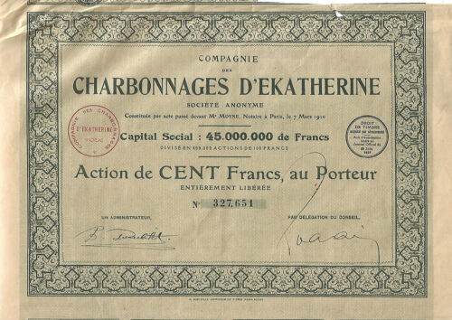 AN OLD FRENCH COMPANY BOND DOCUMENT 1929: