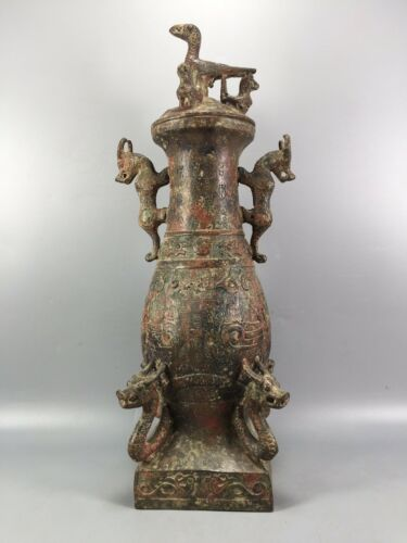 "13"" China antique shang zhou dynasty bronze ware Bird cover Four Dragon vase"
