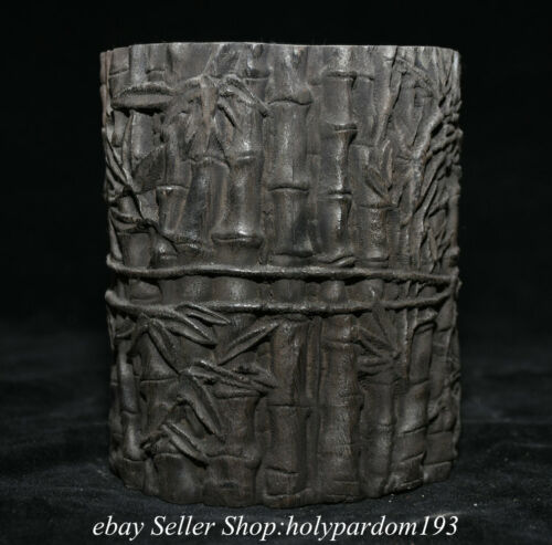 """4.8"""" Rare Old Chinese Bamboo Root Hand Carving Brush pot Pencil vase"""