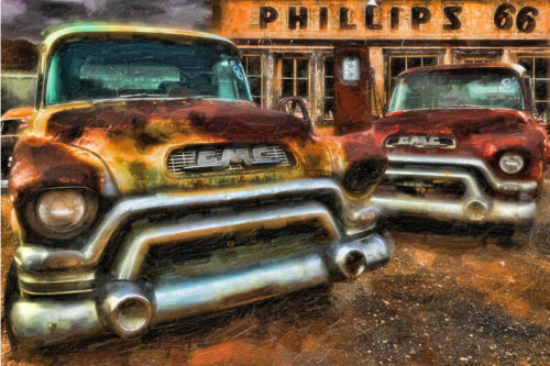 Route 66 GMC Truck Phillips 66 Gas Station Rustic Nostalgic Vintage