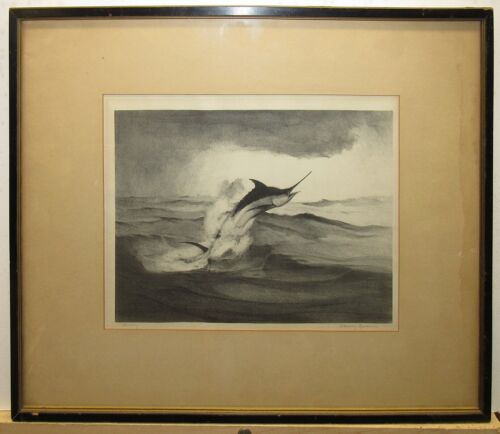 """William Goadby Lawrence '30s Litho Leaping Marlin """"Blue Fury"""" Listed Sporting"""