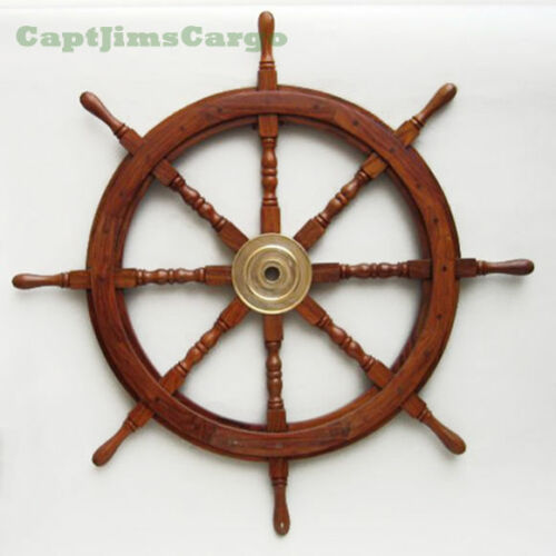 """Large 36"""" Boat Ship Wooden Steering Wheel Brass Center Nautical Wall Decor New"""