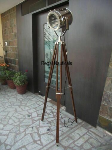 NAUTICAL REPRODUCTION SPOT SEARCH LIGHT SPOTLIGHT W/FLOOR WOODEN TRIPOD STAND