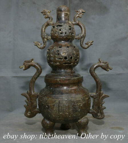 """14.8"""" Old Chinese Bronze Ware Western Zhou Dynasty Beast Face Dragon Ear Censer"""