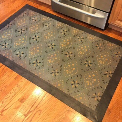 Floorcloth 4'x6' Hand-Painted Canvas Primitive Colonial Area Rug Floor Cloth