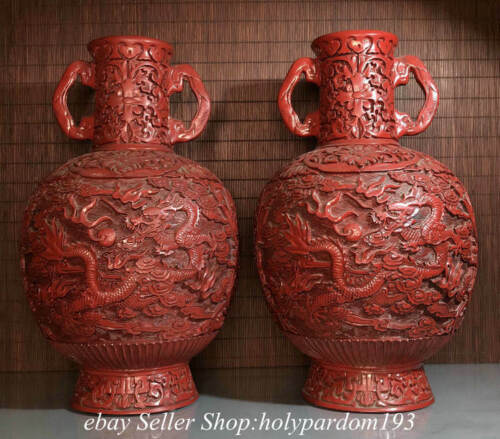 """12"""" Marked Old China Red Lacquerware Wood Dynasty Dragon Double Ear Bottle Pair"""
