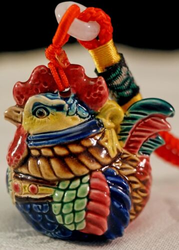 Old CHINESE Export Famille Rose Chinese porcelain ROOSTER Chicken Figure WHISTLE