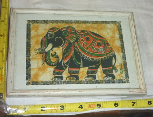 """Vtg Hand Painted Elephant on Cloth in Wood Frame - Signed Wall Art ~7½""""L x 5⅜""""H"""