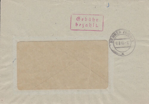 Firmenbriefhülle 1945 London Victory Fee Paid Stamp Red German Commercial
