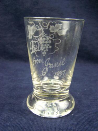 """1937 Exhibition glass """"Bill from Janie"""" with grape vine decoration"""