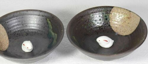 Japanese Pottery Sake Cup Hasami Ware Brown Moon Rabbit 2 pieces Vintage