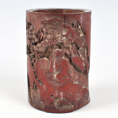 Chinese Bamboo Carving Landscape Figure Statue Brush pot