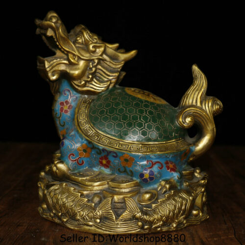 "9.4"" Old China Cloisonne Enamel Copper  Feng Shui Dragon Turtle Wealth Statue"
