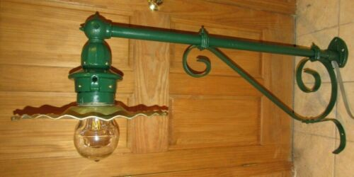 Vintage/Antique Original 1930's Wall Mount Long Arm Street Light Restored Deco