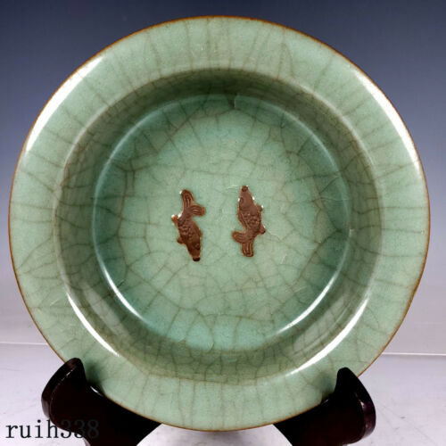 old  China  Song dynasty  offcial kiln  double  fish  Folding edge  Brush wash