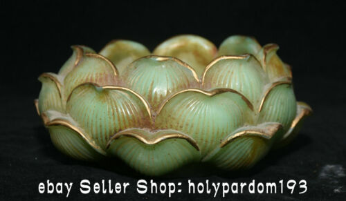 """6.8"""" Ancient Chinese Green Jade Gilt Carving Dynasty Palace Lotus Brush washer"""