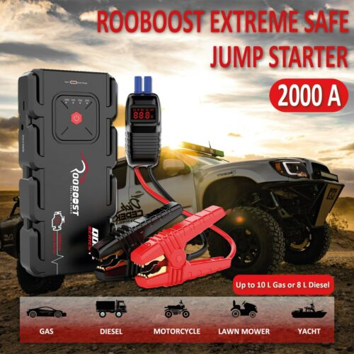 Jump Starter 2000A Portable 12 Volt Car battery Heavy duty high booster Rooboost <br/> 2 years Warranty High quality AU Stock RB-2000 Strong