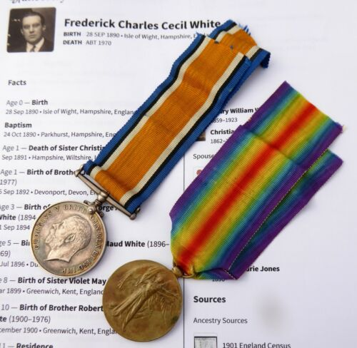 Pair of Original  WW1 War Medals 1959 PTE F C White 3- Co of Lond Y & Research