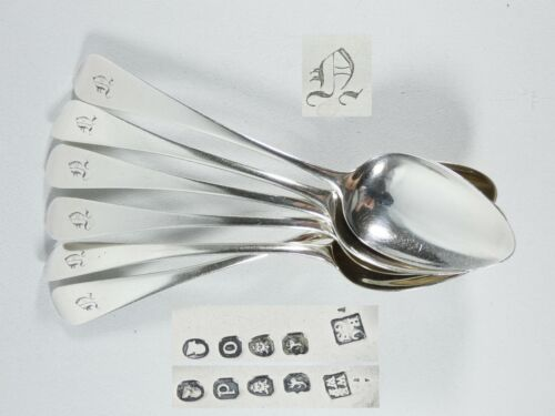 Antique Georgian 1817 Set of 6 Sterling Silver Dessert Spoons Old English WEWF